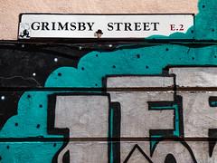 Grimsby Street E.2 (Steve Taylor (Photography)) Tags: grimsbystreet e2 dots lee graffiti mural sign streetart tag street white black blue brown sticker outline spot uk gb england greatbritain unitedkingdom london