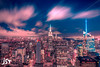 New york at night (jst_pictures) Tags: night nightphotography photography pink blue new york nyc city citylife sharp contrast sky clouds edit editing lightroom empi empire state building clear black exposure longexposure long focus 1100d architecture roof rooftop jst pictures