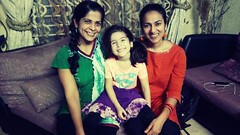with Simi and Esme (photo by Shahed) (olive witch) Tags: 2017 abeerhoque bangladesh bd dec17 december dhaka fem group indoors kid night