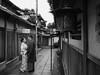 Kyoto Love Story Ishibei-koji Street (atria2718) Tags: japan nippon kyoto 日本 京都 ishibeikoji street love lovers lantern monochrome japanesestylehouse 石塀小路 モノクロ 着物 kimono 町家