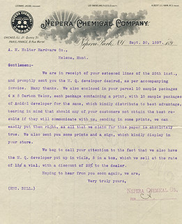 Nepera Chemical Company letter before the takeover in 1899