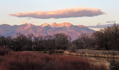 A View From the Bridge (Patricia Henschen) Tags: rural levee alamosacolorado sunset blanca mountain peak alamosa colorado town clouds sangredecristo mountains wetland reflection alpenglow winter reflections stateavenue bridge riogrande river riogranderiver