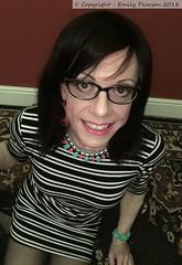 March 2018 - striped dress (Girly Emily) Tags: crossdresser cd tv tvchix trans transvestite transsexual tgirl tgirls convincing feminine girly cute pretty sexy transgender boytogirl mtf maletofemale xdresser gurl glasses dress tights hose hosiery indoor