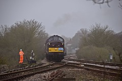 West Coast Rail Loco 37669 about to take the Aldeburgh Branchline, closed to passenger traffic since 1966. The Mayflower Tour, Charity Rail Tours 15 04 2018 (pnb511) Tags: eastsuffolkline leiston saxmundham sizewell suffolk train class37 track points junction groundframe loco diesel engine trees