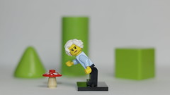 Granny in the Forest picking mushrooms (N.the.Kudzu) Tags: tabletop lego miniature granny mushroom canondslr primelens canon50mmf18 canoneflens canon70d