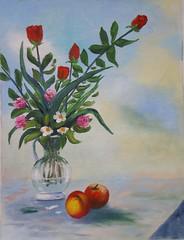 Vaso di fiori con frutta (Renoil L.) Tags: naturamorta fiori colori oilpaintting