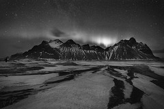 Small Aurora over Vesturhorn (ms2thdr) Tags: cold iceland mountain southerniceland vesturhorn winter bw monochrome aurora night sky stars northernlights