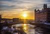 Sunset over Stockholm (Jens Haggren) Tags: sun sunset sky water bridge light city buildings rosenbad stockholm sweden olympus em1 jenshaggren