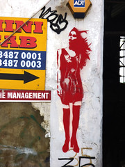 The Management (Steve Taylor (Photography)) Tags: art graffiti graphic stencil tag streetart sign black yellow white red blue woman lady uk gb england greatbritain unitedkingdom london hair tresses silhouette dress boots stockings themanagement minicab adt burglaralarm 35