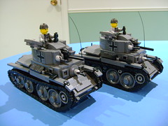 Custom Lego WW2 German Panzer 38t tank V2 (TekBrick) Tags: custom lego ww2 german panzer 38t tank moc war brick dark grey gray track minifigure antenna machine gun mg turret wheels iron cross