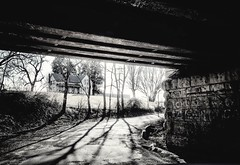 under the bridge.... (BillsExplorations) Tags: railroad bridge train railroadbridge old decay ruraldecay blackandwhite monochrome farmhouse farm rural shadows chuck graffiti illinois savanna wow