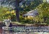 E. Waldo Ward Ranch (Sherry Schmidt) Tags: art painting pleinair watercolor watercolour gouache garden gardening succulents trees shade neighborhood landscape urn