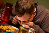 Goldfish Dinner (Jeremy Caney) Tags: choking crackers eating friends glasses goldfish halloween houseparties laughing man michael parties shorthair waterbottle witchinghour witchinghourparty