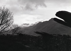 Wales (fraser_west) Tags: mono blackwhite film monochrome light shadow naturallight nature mountains snow lake clouds moody grain kodak pentax landscape outdoors trees beautiful mediumformat