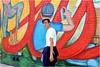 People and Paths (Steve Lundqvist) Tags: york usa states united america manhattan stati uniti travel trip viaggio urban city urbanscape ny nyc downtown building view point big apple murales painting graffiti fujifilm x100s edificio brooklyn mural colors williamsburg wall art red muro model guy boy