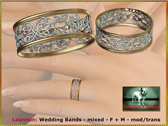 Bliensen - Leannan - Wedding Bands - mixed - F+M (Plurabelle Laszlo of Bliensen + MaiTai) Tags: weddingband weddingring engagementring wedding marriage bridal groom bride ring celtic filigrane retro vintage antique medieval bliensen secondlife sl jewelry