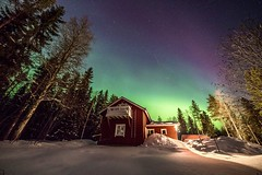 Night sky (Arttu Uusitalo) Tags: snow house wideangle auroras lights northern samyang mkiv 5d canon finland winter landscape sky night