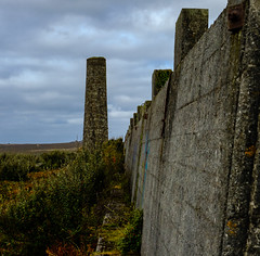 Chimney, Leswidden China Clay works (Rogpow) Tags: cornwall leswiddenchinaclayworks stjust stjustinpenwith penwith leswidden chinaclayworks chinaclay abandoned derelict decay disused dilapidated concrete wall chimney industrialhistory industrialarchaeology industrial industry fujifilm fuji fujixpro2 landscape