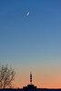 Морозный день на реке (Esha Yaz) Tags: tree winter colors evening skyscraper sky moon crescentmoon minimalism cold river sunset ice sun blue yellow red freezing clouds buildings trees