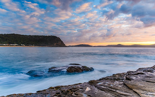 Sunrise Seascape with Cloud and Rock Ledge