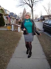 Walking The Walk (Laurette Victoria) Tags: milwaukee sidewalk laurette woman jacket blonde tights patternedhose skirt sweater