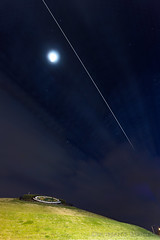 ISS over Mt. Trashmore (Scoutchuck) Tags: eos6dmarkii qdslrdashboard stars waxinggibbous moon canon longexposure clouds timelapse internationalspacestation virginia coastal stacking orbit space iss luna mounttrashmore virginiabeach unitedstates us