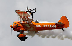 Wing Walkers (Bernie Condon) Tags: bigginhill airport londonbigginhill historic airfield airshow aviation display flying aircraft planes plane festivalofflight breitling wingwalkers girls ladies aerobatics wingwalking aerosuperbatics boeing stearman trainer vintage classic preserved biplane