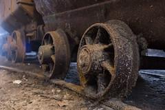 Wheels (mikeplonk) Tags: bigpit blaenavon southwales coal mining blackgold nikon d5100 dram tram rust rusty wormseyeview groundlevel axle crusty 18140mm kitlens wheel wheels minecart
