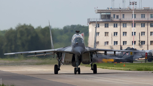 Polish Air Force MiG-29GT 4110 taxiing back to platform at Malbork AB