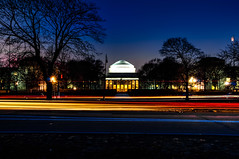 MIT Dome with Light Trails (briburt) Tags: briburt nikon d90 newengland mit massachusetts cambridge evening dusk night lowlight longexposure lighttrails traffic lights red blue orange memorialdrive vibrant energy energetic university tripod