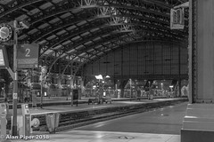 Platform 2, Gare Lille Flanders at night (PapaPiper (Travelling with my camera)) Tags: lille france nightscape nightscene nighttime night monochrome bw