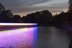 She Wore Pink Ribbons (Robin Shepperson) Tags: pink blue canal city berlin germany exposure long d3400 nikon evening dusk boat lights