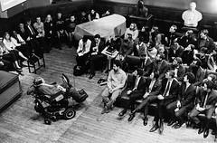 20161009_Stephen_Hawking_HP5_1600_HC110A_31A_web by Bossnas - Stephen Hawking at the Oxford Union, 2016.  Leica M2 50/1.5 Voigtlander Nokton Ilford HP5 @ ISO1600 Developed in Kodak HC-110 1+15 Pakon scan