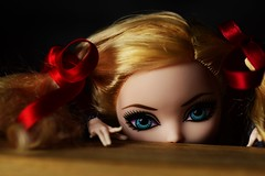 Pigtails & Schoolgirls (jessandgrace) Tags: doll portrait closeup colorimage colors wood desk hands red ribbon face eyes blueeyed hair pigtails curly blonde applewhite everafterhigh eah pretty beauty glamour cute