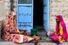 Two women peeling vegetables at the doorstep, Jodhpur, Rajasthan, India (CamelKW) Tags: 2018 india rajasthan twowomen peeling vegetables doorstep udaipur jodhpur in