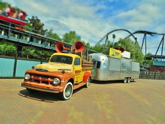 Stealth, Thorpe Park (kentorpinto) Tags: ford truck pickup fseries f 1951 1952 stealth ride 1950s stealthride f1 f2 f3 roller coaster airstream caravan thorpe park