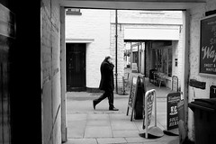 Man on the Street (sgreen757) Tags: cirencester street streets photography man men people fuji fujifilm x30 black white glos gloucestershire figure alley alleyway side businessman