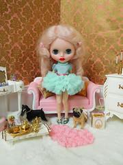Mint Ruffles Dress (Cossette...) Tags: jc5 jeccifive doll clone blythe cossette pink mohair ringlets rement vanity dressingtable sindy foxterrier pug barbie mint outfit