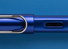 Lamy AL (MyArtistSoul) Tags: lamy al aluminum body fountain pen pocket clip ink view window blue silver smooth tight closeup macro bilateralsymmetry simple minimal 3729 macromondays theblues