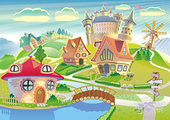 Print (cfdtfep) Tags: fairyland fairy land dreamland dream fairytale fantasy tower castle medieval fort windmill magic magical tale cartoon style styled landscape community town little village house habitation imaginative imagination colorful colors saturated red green blue sky cloud clear nature world country architecture exotic children building grass trees germany