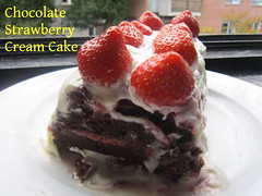 Chocolate Strawberry Cream Cake (nadjadejong) Tags: food cooking cooked homemmade sweet dessert treat chocolate strawberry cake cream icing