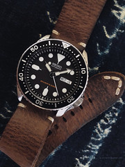 Eclectic style I. Seiko SKX007K2 w. leather strap. (antarc foto) Tags: eclectic style seiko skx007k2 diver divers 200m leather strap