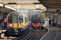 Five On Five, 444 On Four (Deepgreen2009) Tags: woking steam uksteam station 444 blackfive surrey lms 45212 desiro platforms old new heritage railway