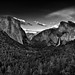 A Wide Angle Setting at Tunnel View to Take in Yosemite Valley (Black & White)