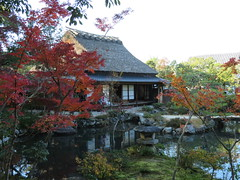 IMG_2152 (hattiebee) Tags: japan nara garden traditional house water pond reflection autumn fall maple leaves momiji red