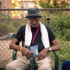 (patrickjoust) Tags: mamiya c330 s sekor 80mm f28 kodak portra tlr twin lens reflex 120 6x6 medium format c41 color negative film manual focus analog mechanical patrick joust patrickjoust baltimore maryland md usa us united states north america estados unidos urban street city man sitting backyard portrait greenmount west