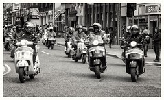 scooters belfast (teedee.) Tags: stpatricks 2018 belfast scooter parade vespa scooters day ride motorcycle moped bike bw mono