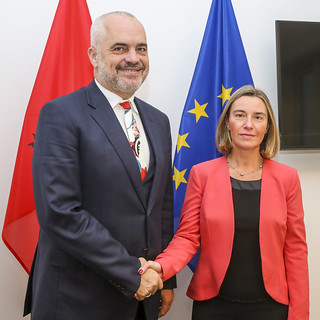 Federica MOGHERINI, HRVP of the EC meets with Edi RAMA, Prime Minister of Albania, at the EP in Brussels, March 2018