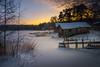 Winter evening at Vanhaniemi (Jyrki Salmi) Tags: jyrki salmi vanhaniemi pyhtää finland winter evening snow ice pier boathouse
