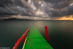 Take me to the clouds (IrreBerenTe Natalia Aguado) Tags: santander elpuntaldesomo green colors red sunset takemetothesky irreberente nataliaaguadoirreberente sea seascape landscape travelspain cantabria longexposure clouds sky pier old embarcadero puntal somo ribamontanalmar